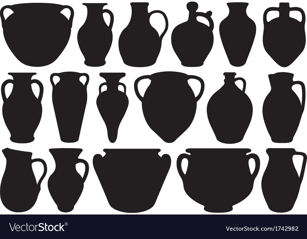 Set of different clay pottery vector | Price: 1 Credit (USD $1)