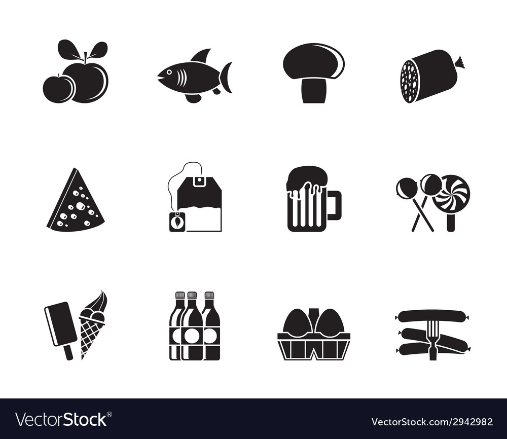 Silhouette food and shop icons vector | Price: 1 Credit (USD $1)