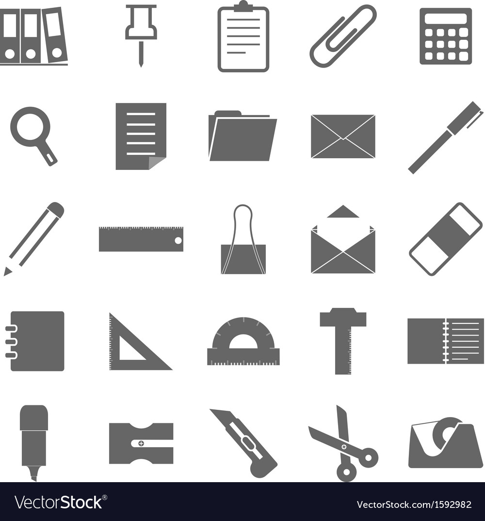 Stationary icons on white background vector | Price: 1 Credit (USD $1)
