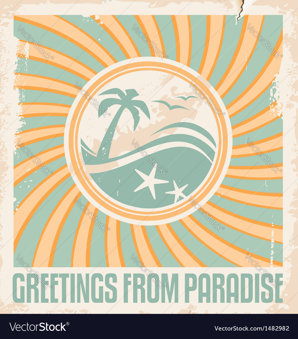 Vintage summer postcard template vector | Price: 1 Credit (USD $1)