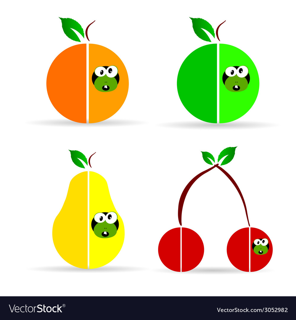Worm in fruit color vector   Price: 1 Credit (USD $1)