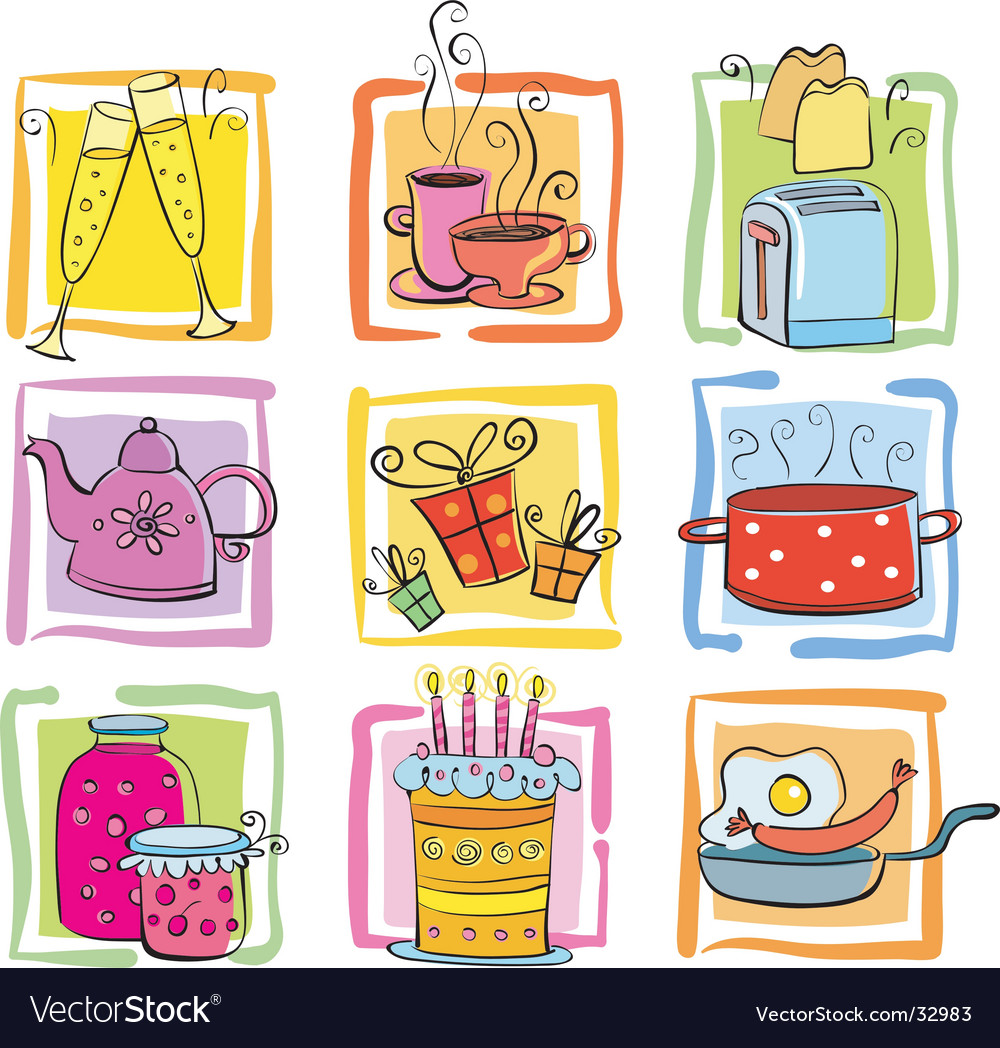 Cartoon food icons vector | Price: 3 Credit (USD $3)