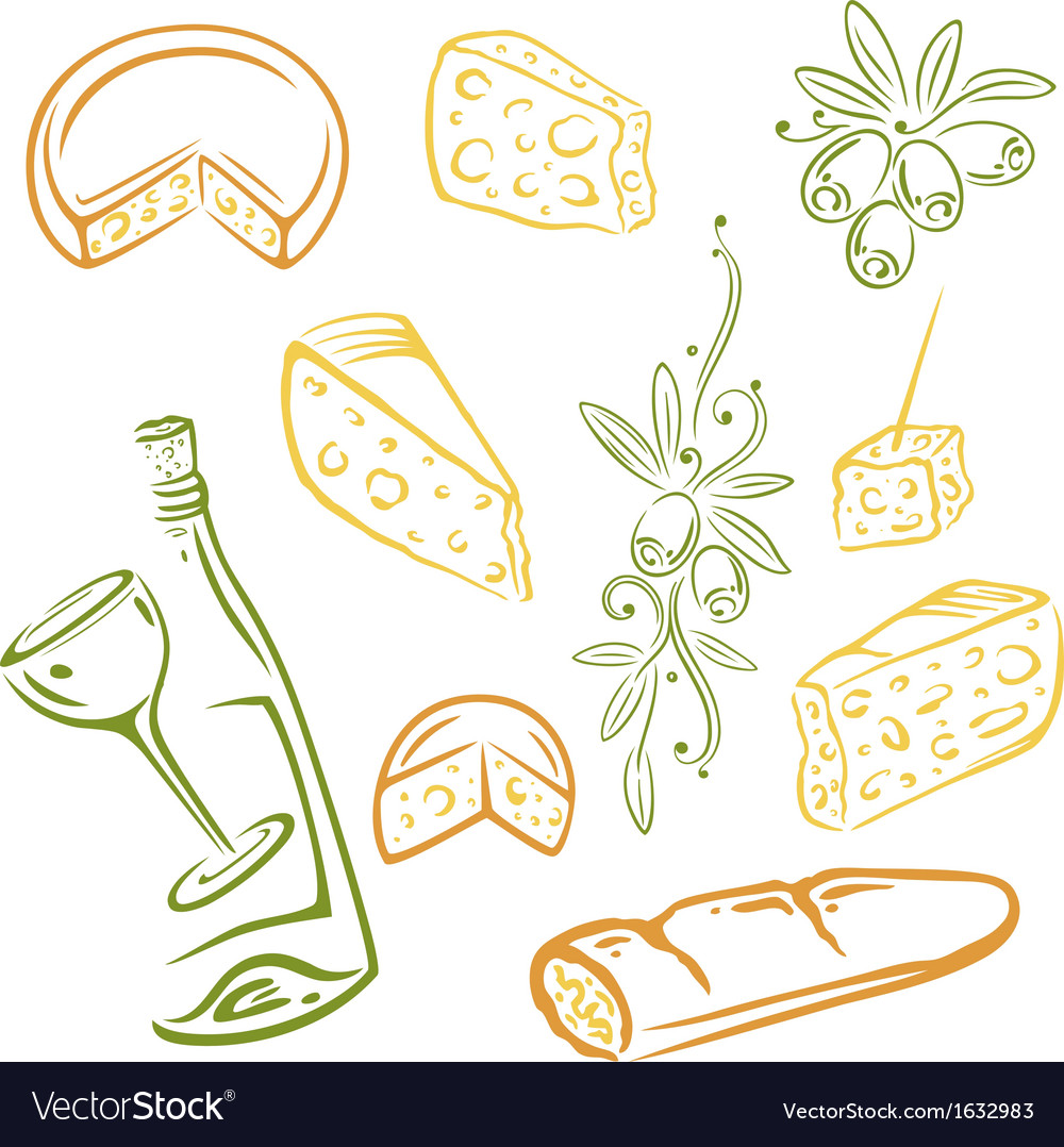 Cheese wine olives vector | Price: 1 Credit (USD $1)