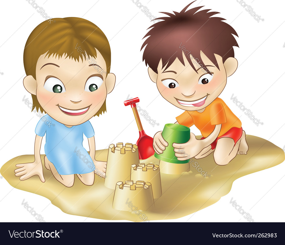 Children in the sand vector | Price: 1 Credit (USD $1)