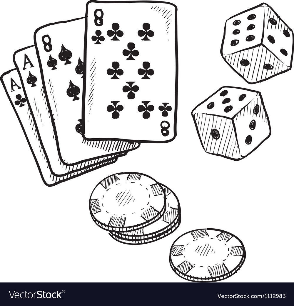 Doodle gambling poker cards dice luck vector | Price: 1 Credit (USD $1)