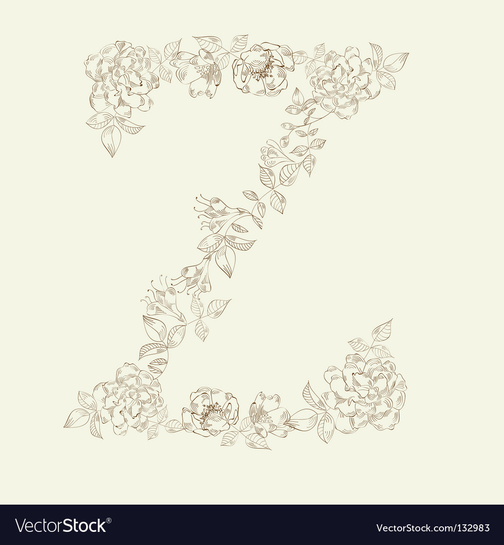 Floral font letter z vector | Price: 1 Credit (USD $1)