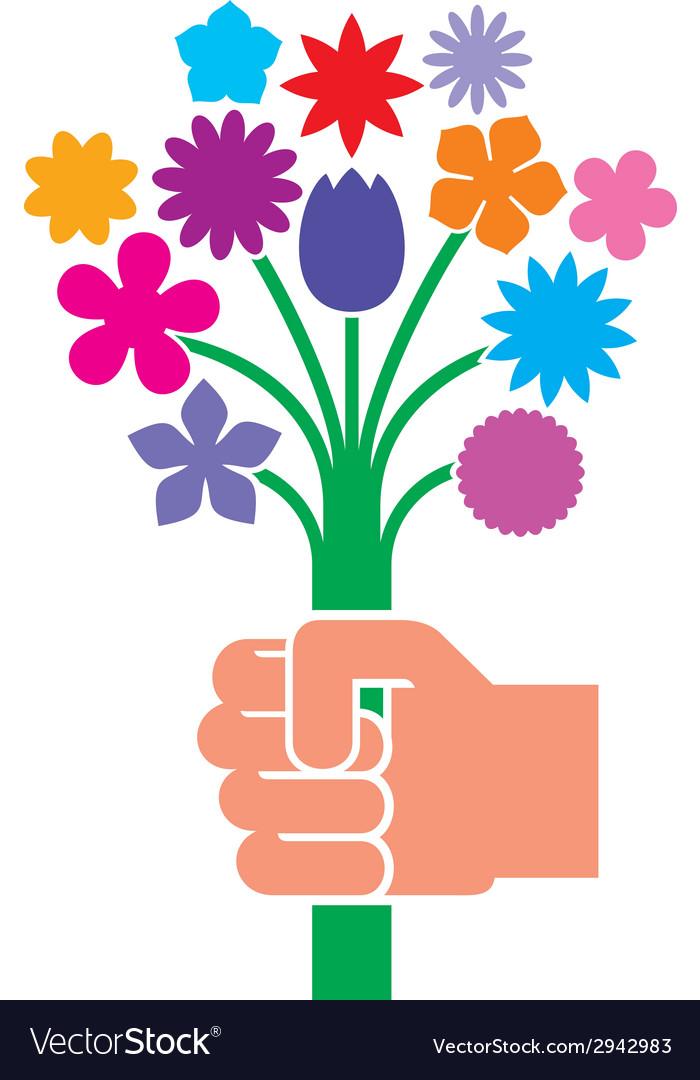 Hand giving flower bouquet vector