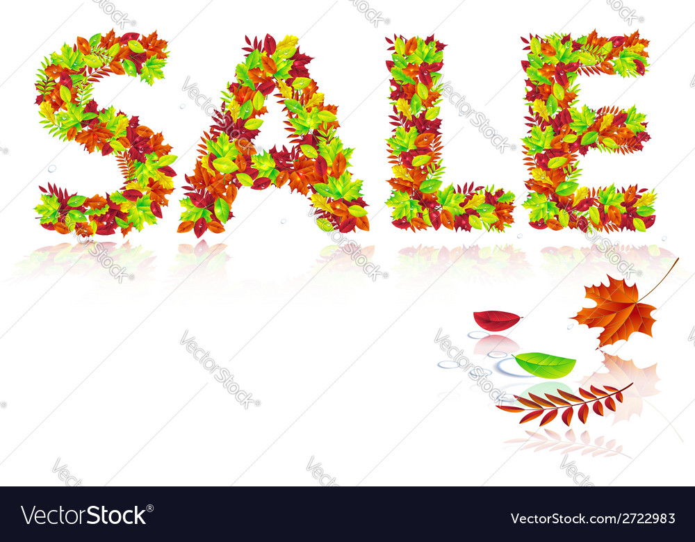Inscription sale of autumn leaves vector | Price: 1 Credit (USD $1)