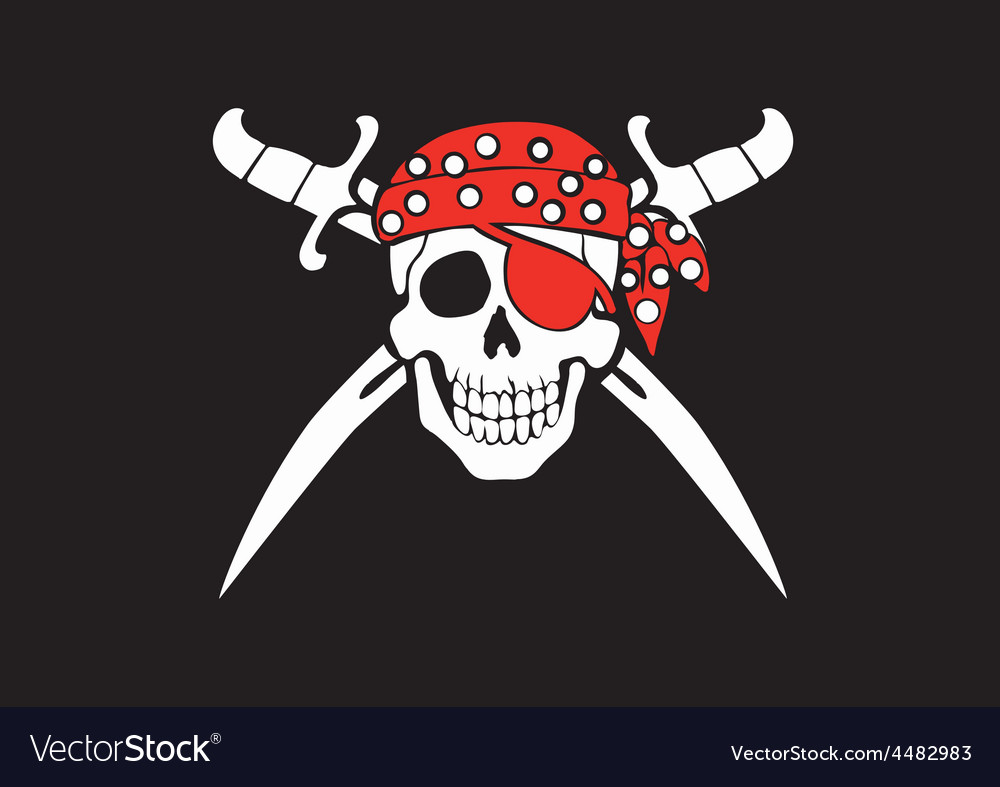 Jolly roger pirate flag vector | Price: 1 Credit (USD $1)