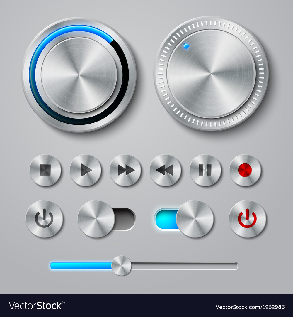 Metal interface buttons collection vector | Price: 1 Credit (USD $1)