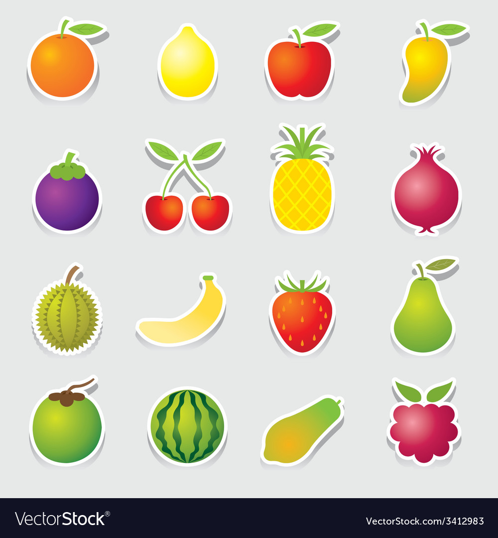 Mixed fruits icons sticker style vector | Price: 1 Credit (USD $1)