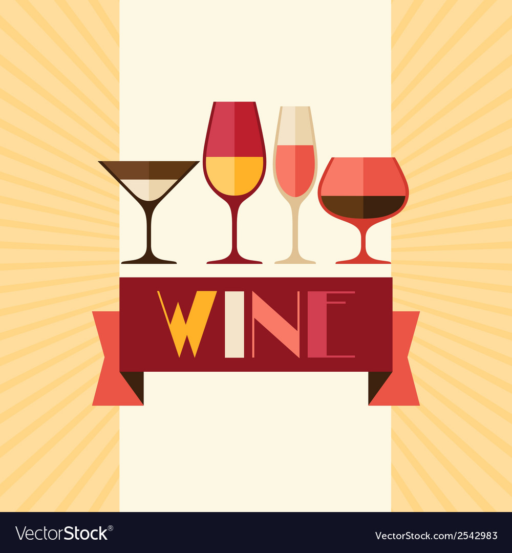 Restaurant or bar wine list with different glasses vector | Price: 1 Credit (USD $1)