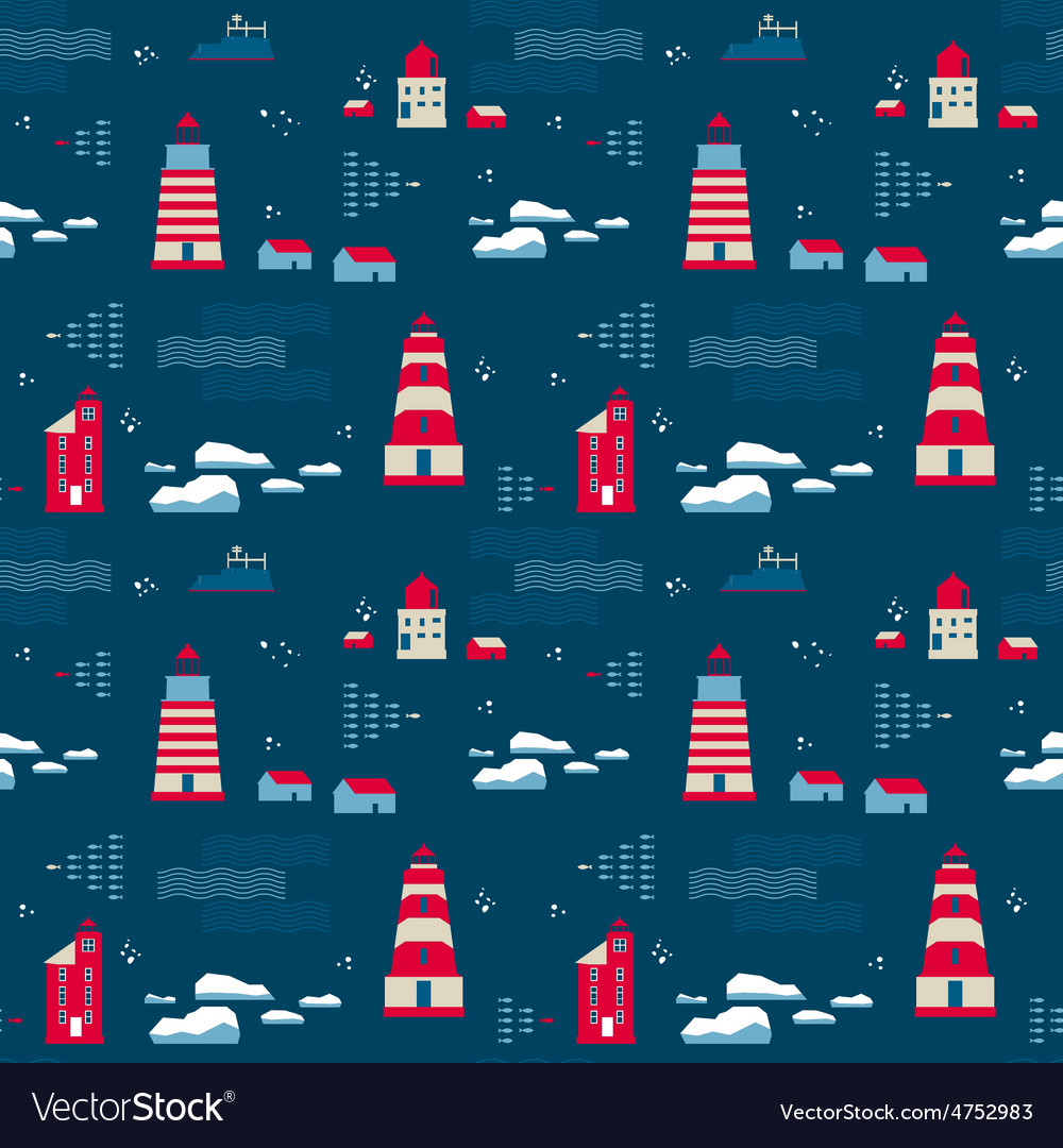 Seamless pattern lighthouses vector | Price: 1 Credit (USD $1)