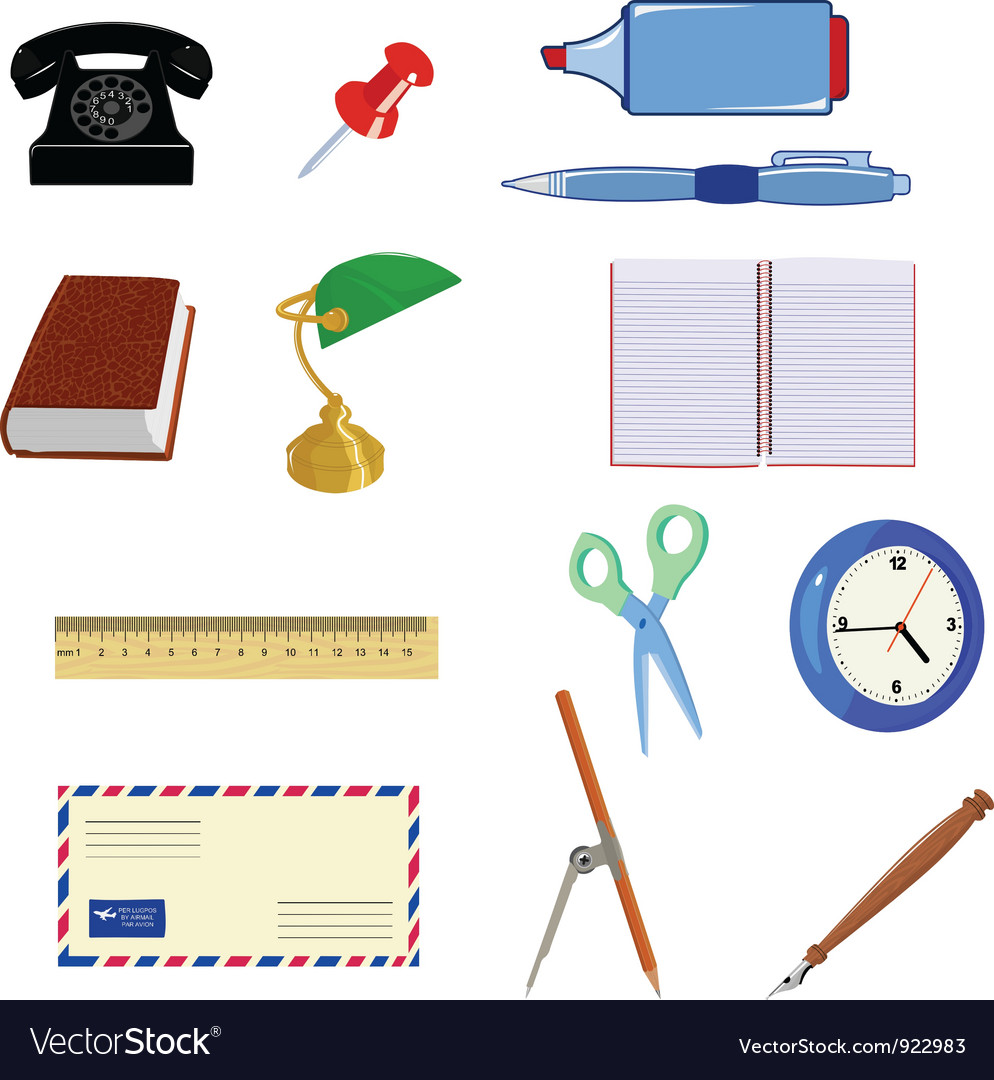 Set of different office objects vector | Price: 1 Credit (USD $1)