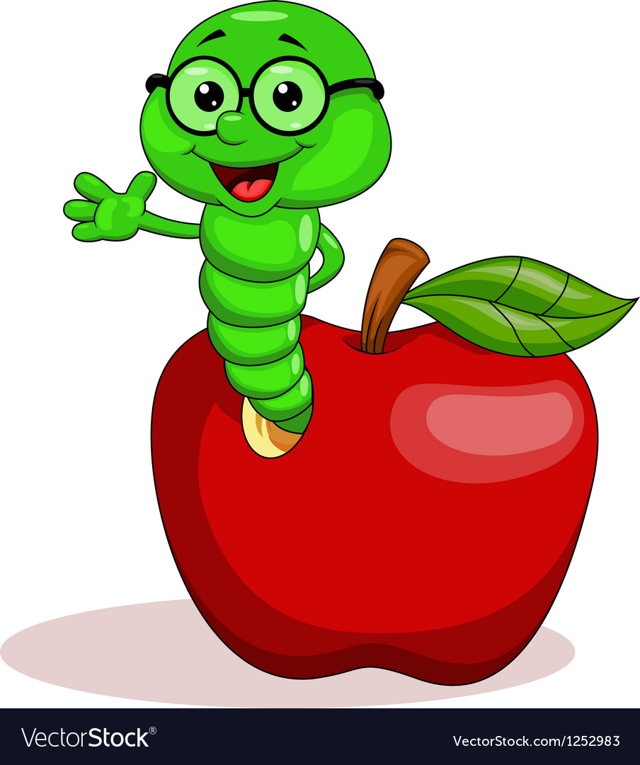 Worm and apple vector | Price: 1 Credit (USD $1)