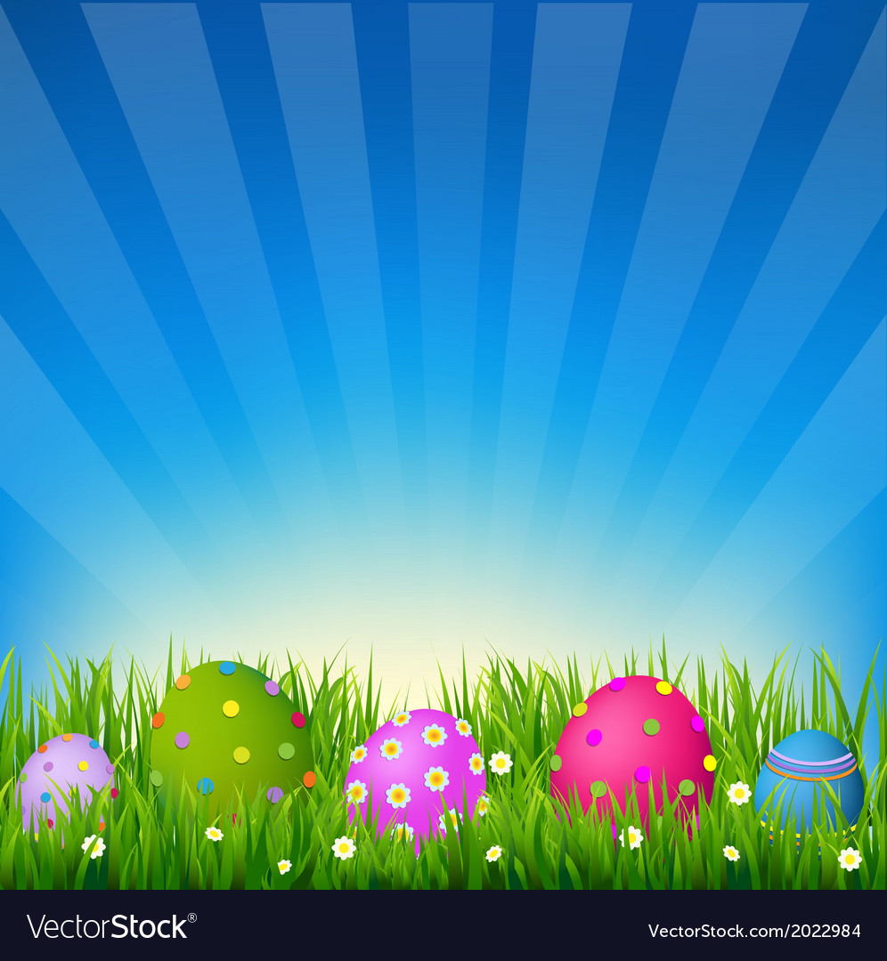 Blue sky with grass easter card vector | Price: 1 Credit (USD $1)