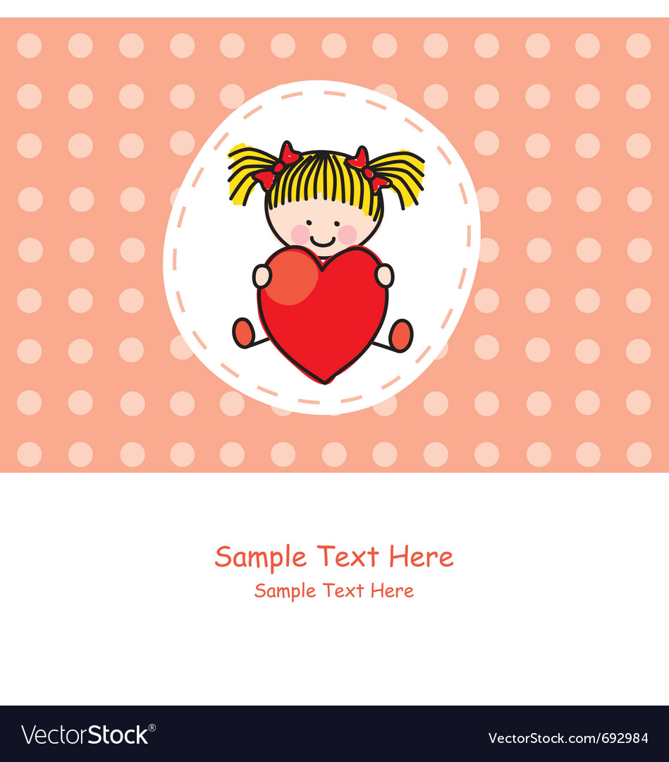 Girl with a heart vector | Price: 1 Credit (USD $1)