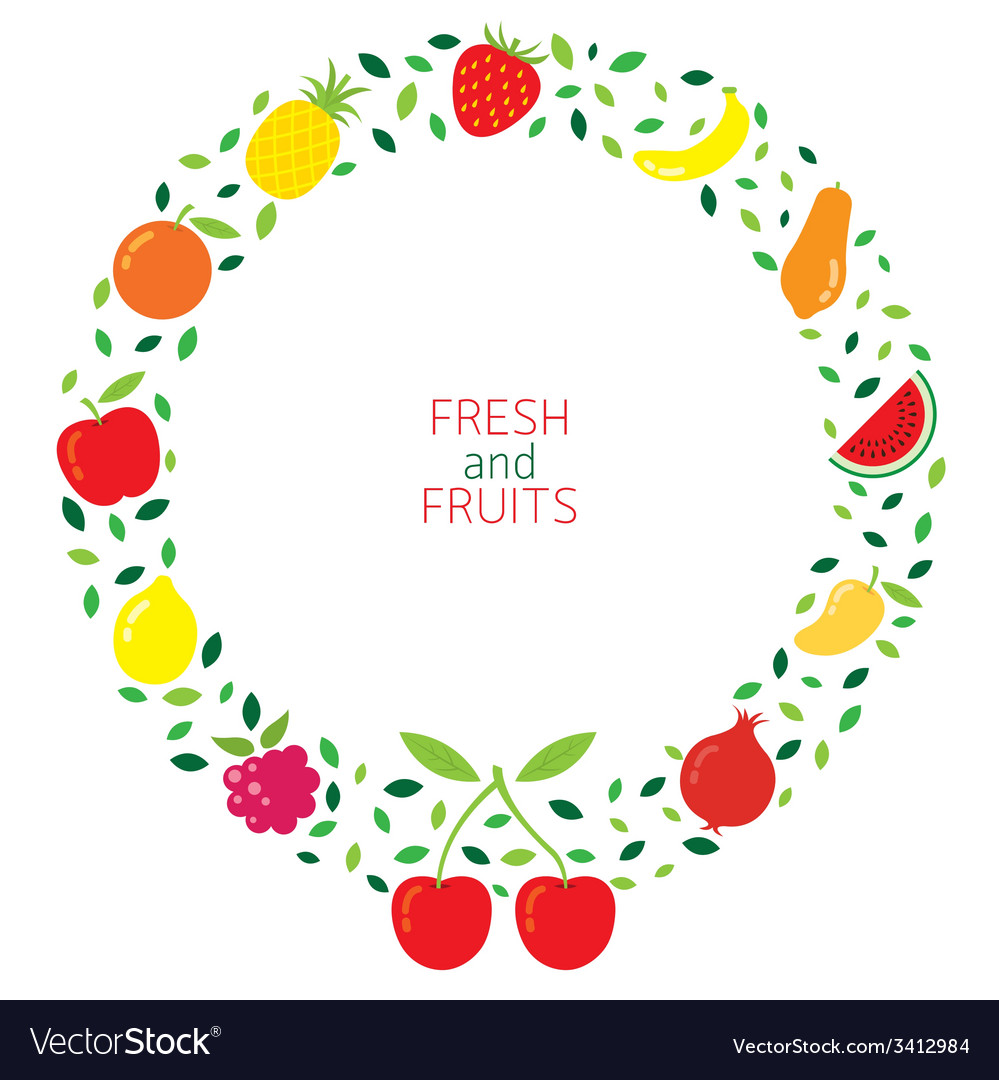 Mixed fruits icons wreath vector | Price: 1 Credit (USD $1)