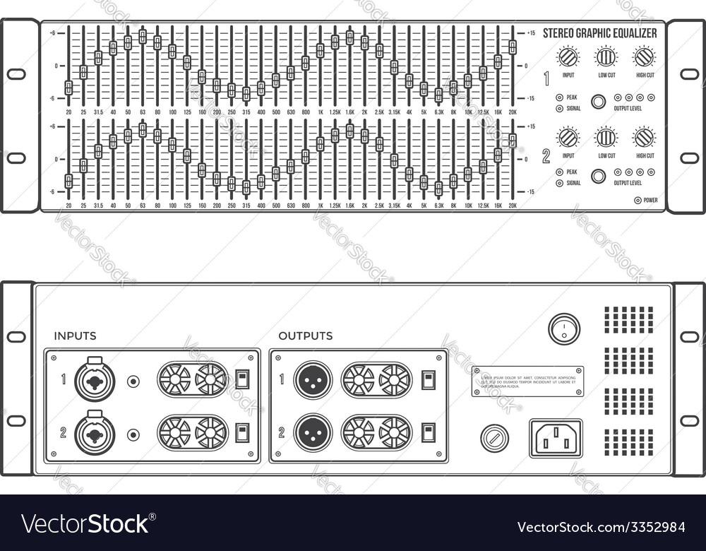 Outline stereo graphic professional equalizer vector | Price: 1 Credit (USD $1)