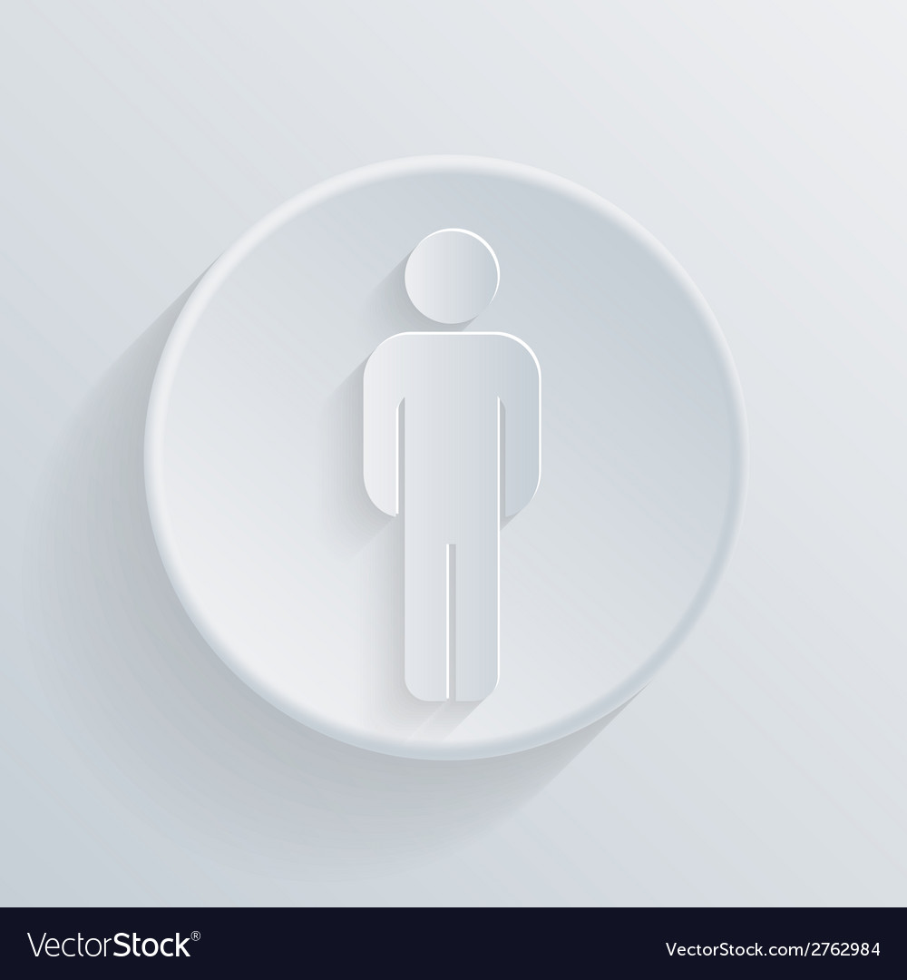 Paper circle flat icon silhouette of a man vector | Price: 1 Credit (USD $1)
