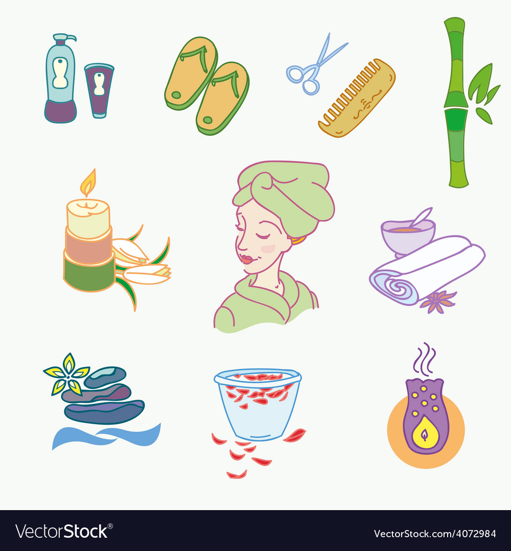 Spa doodle hand drawn sketch icons set with vector | Price: 1 Credit (USD $1)