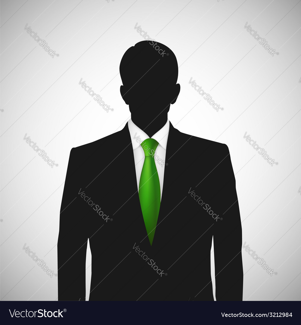Unknown person silhouette whith green tie vector | Price: 1 Credit (USD $1)