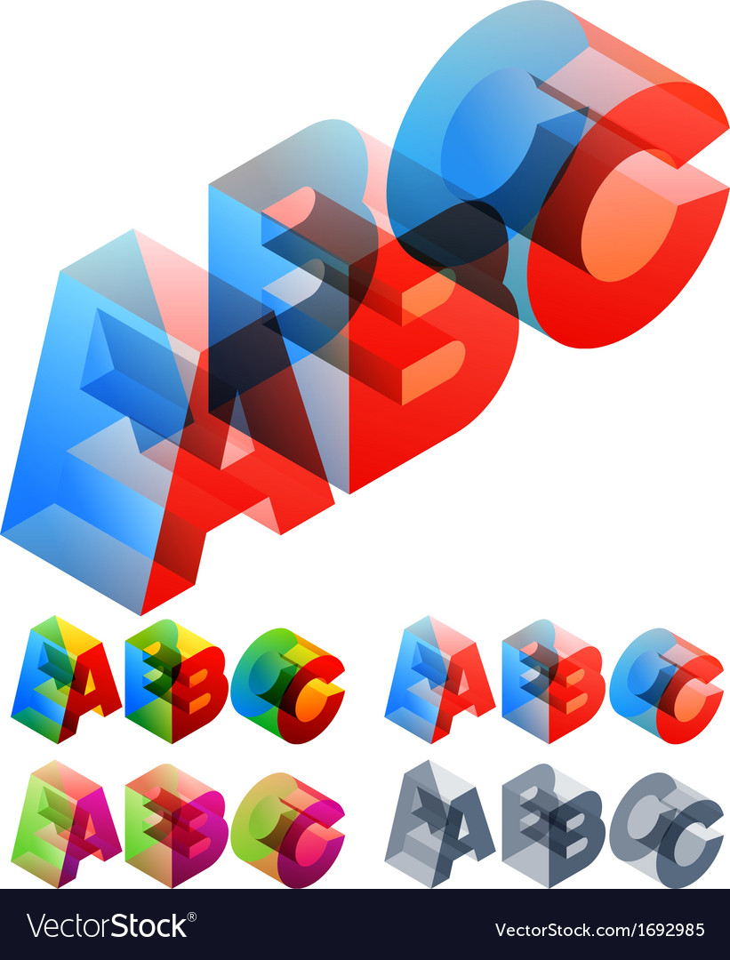 Colored text in isometric view vector | Price: 1 Credit (USD $1)