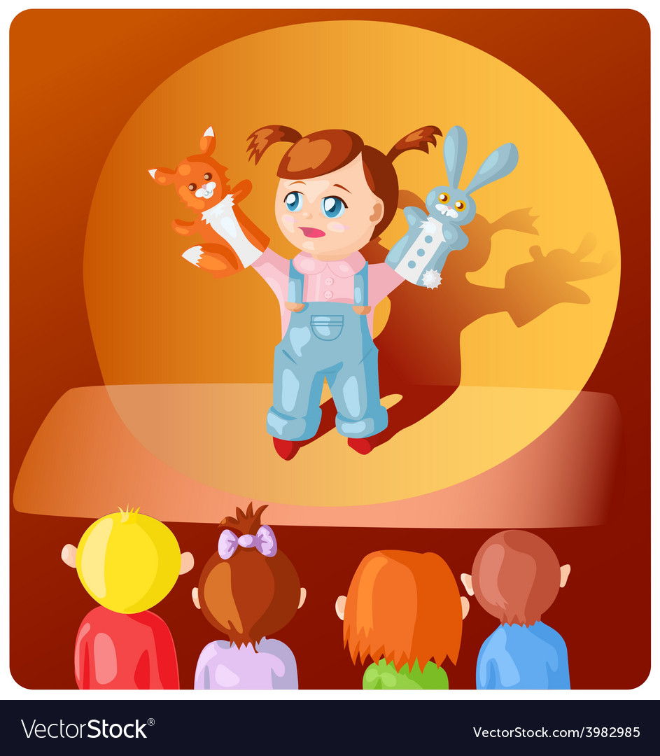 Girl with hand puppets vector   Price: 3 Credit (USD $3)