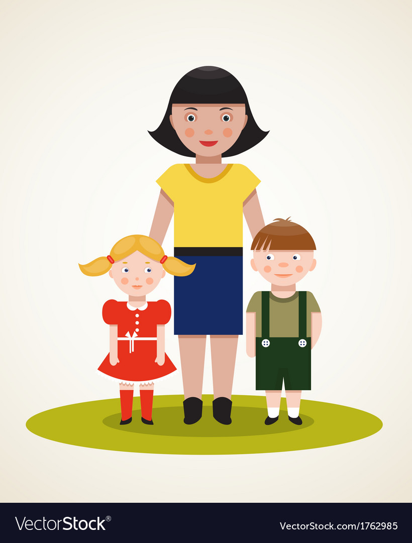 Happy mother with two children vector | Price: 1 Credit (USD $1)