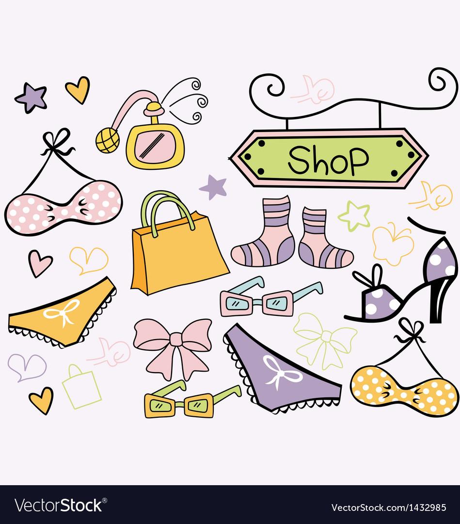 Retro doodle bikini set vector | Price: 1 Credit (USD $1)