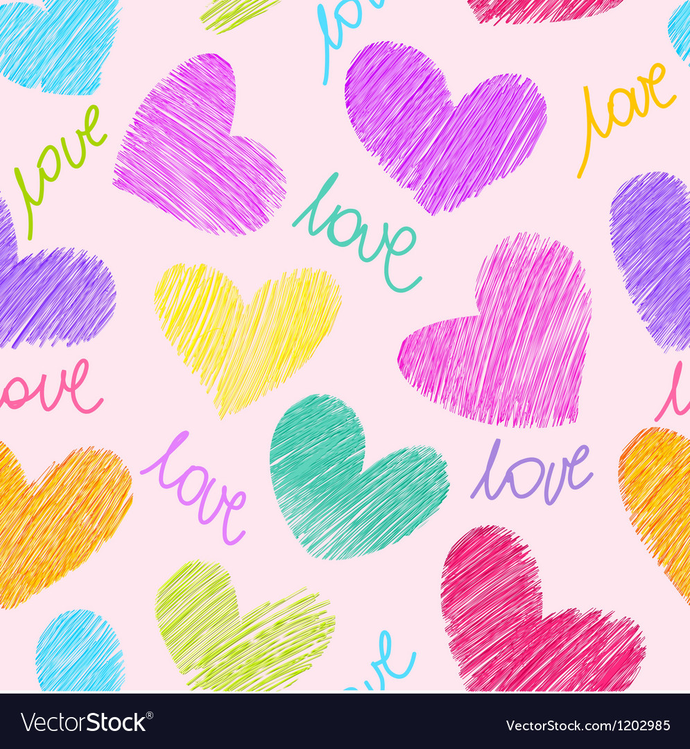Seamless pattern with sketchy hearts vector | Price: 1 Credit (USD $1)