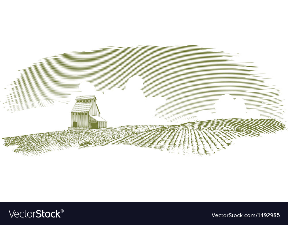 Vintage grain elevator landscape vector | Price: 1 Credit (USD $1)