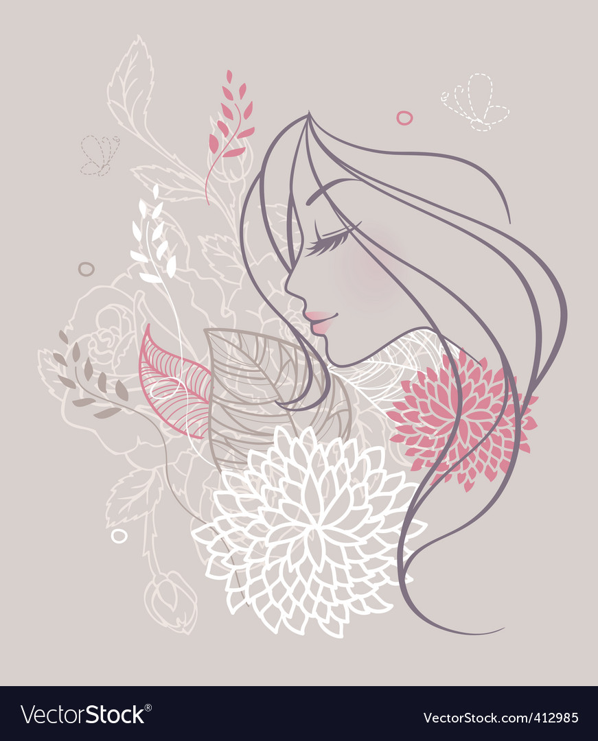 Women profile flowers vector | Price: 3 Credit (USD $3)