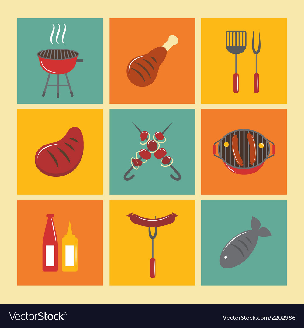 Bbq grill icons flat set vector | Price: 1 Credit (USD $1)