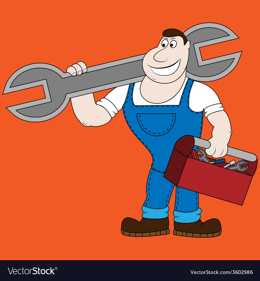 Cartoon mechanic holding a huge wrench vector | Price: 1 Credit (USD $1)