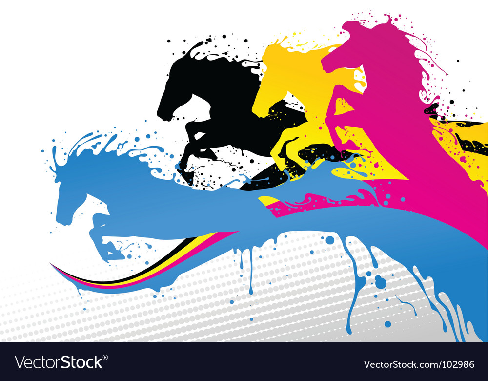 Cmyk horse line vector | Price: 1 Credit (USD $1)
