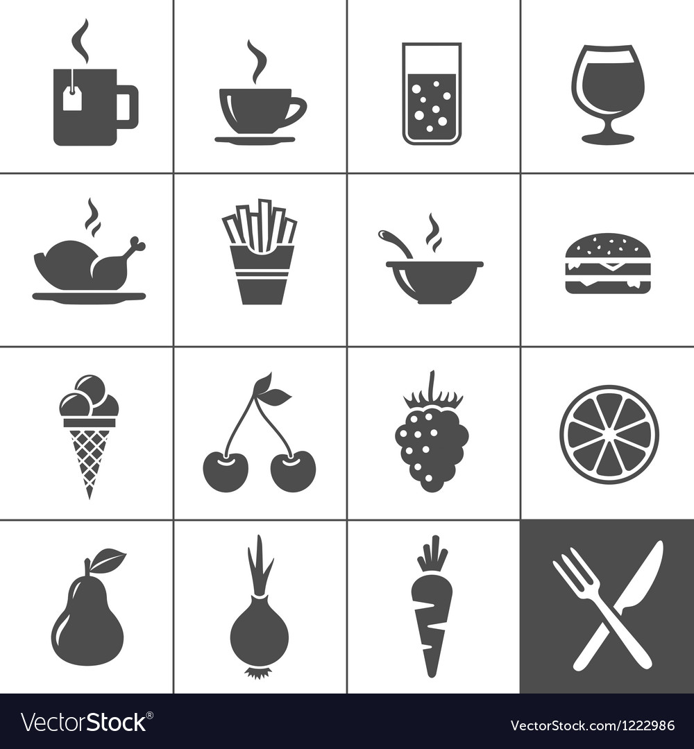Food and drinks icon set simplus series vector | Price: 1 Credit (USD $1)
