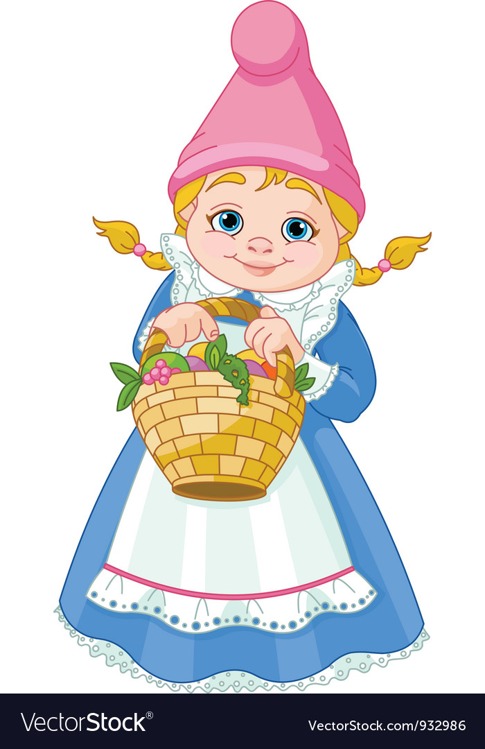 Garden gnome with basket vector