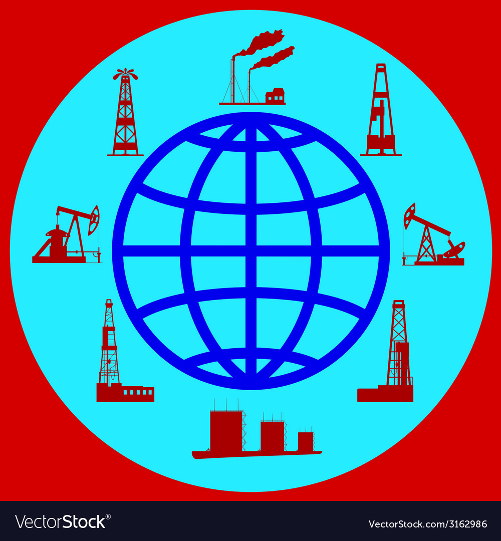 Globe and silhouettes of oil industry vector   Price: 1 Credit (USD $1)
