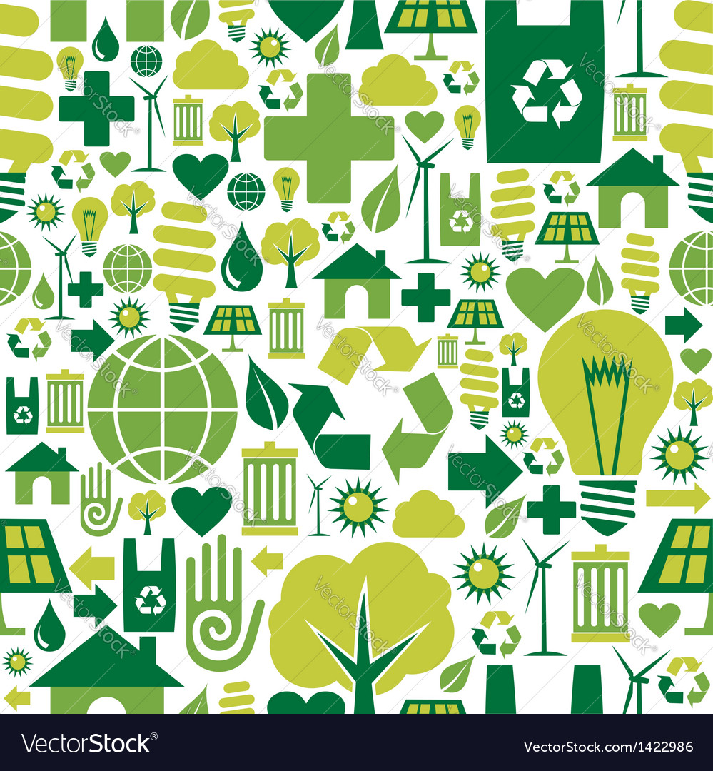 Green environment icons pattern background vector | Price: 1 Credit (USD $1)