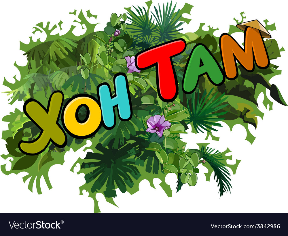 Hon tam inscription on the background of green vector | Price: 1 Credit (USD $1)