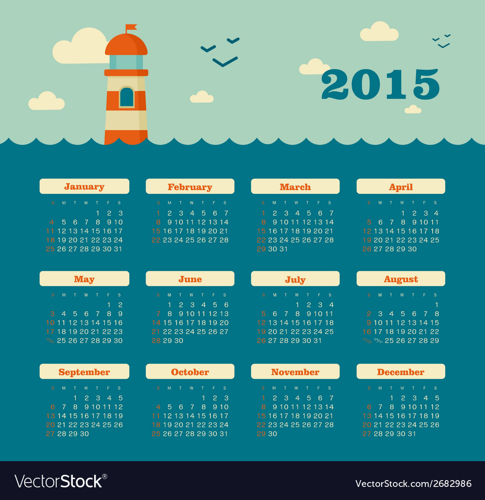 Marine calendar 2015 year with lighthouse vector | Price: 1 Credit (USD $1)