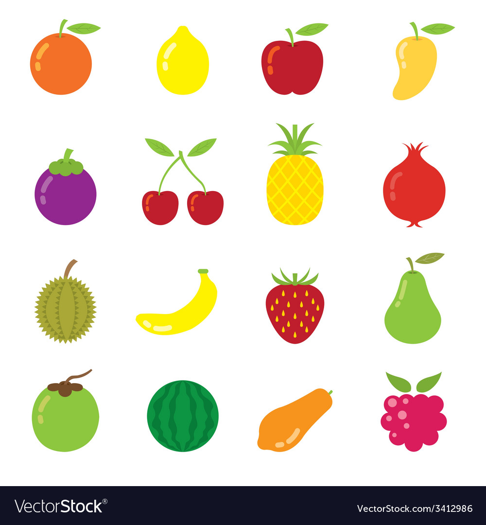 Mixed fruits icons vector | Price: 1 Credit (USD $1)