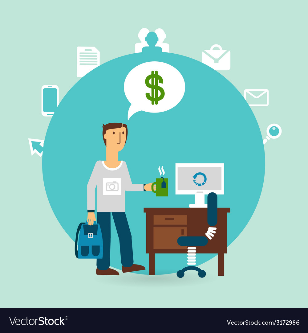 Office worker thinking about money vector | Price: 1 Credit (USD $1)