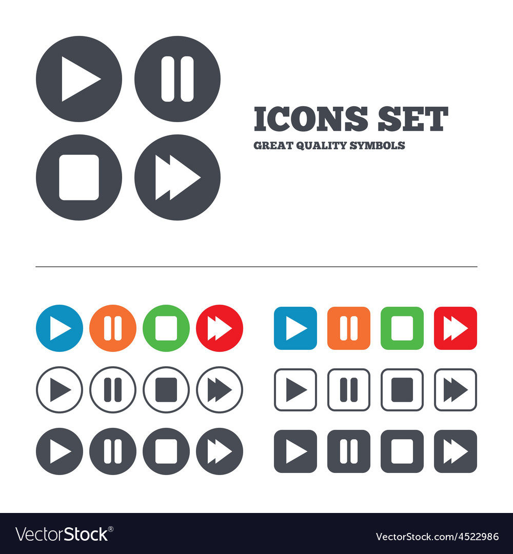 Player navigation icons play stop and pause vector | Price: 1 Credit (USD $1)