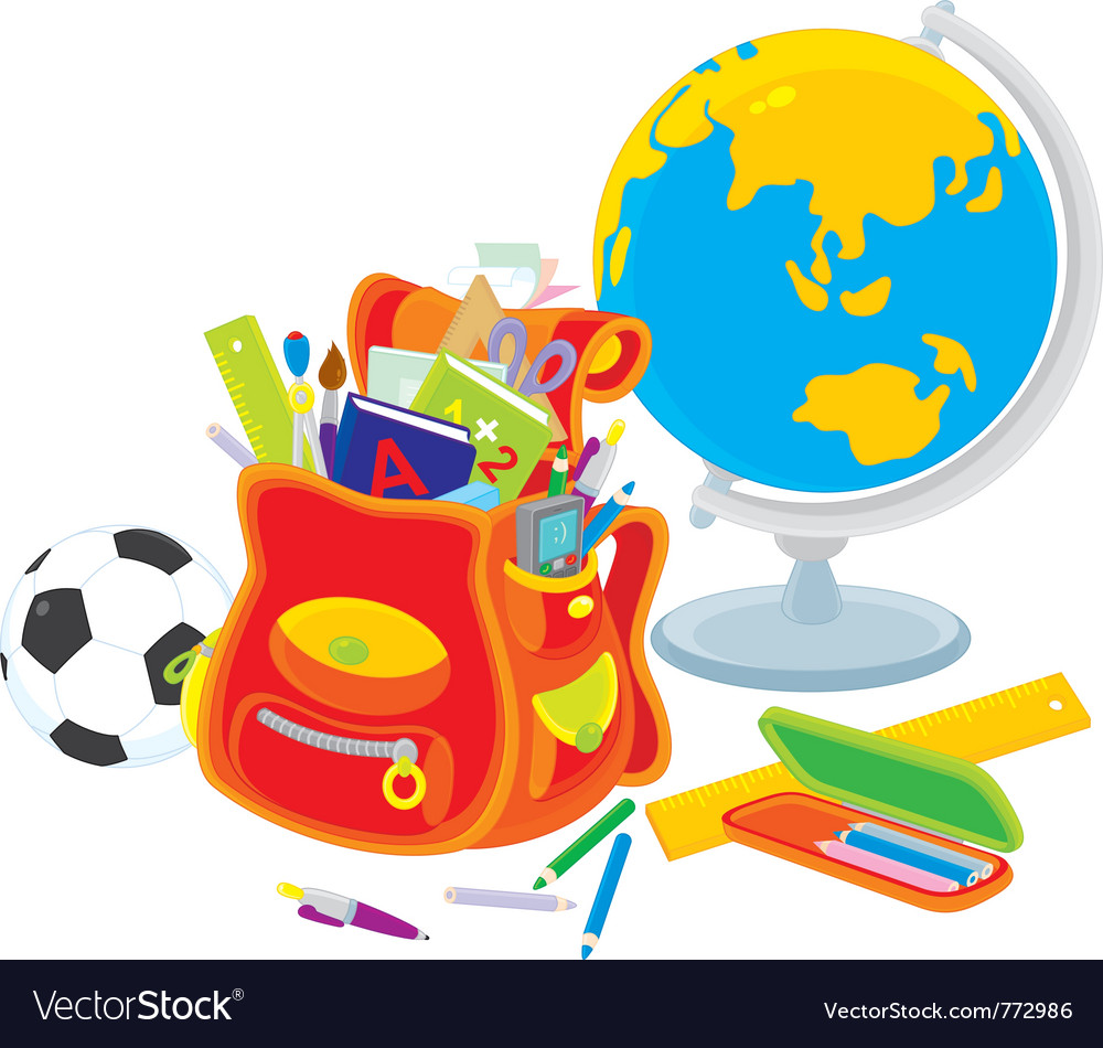 School satchel globe football vector | Price: 3 Credit (USD $3)