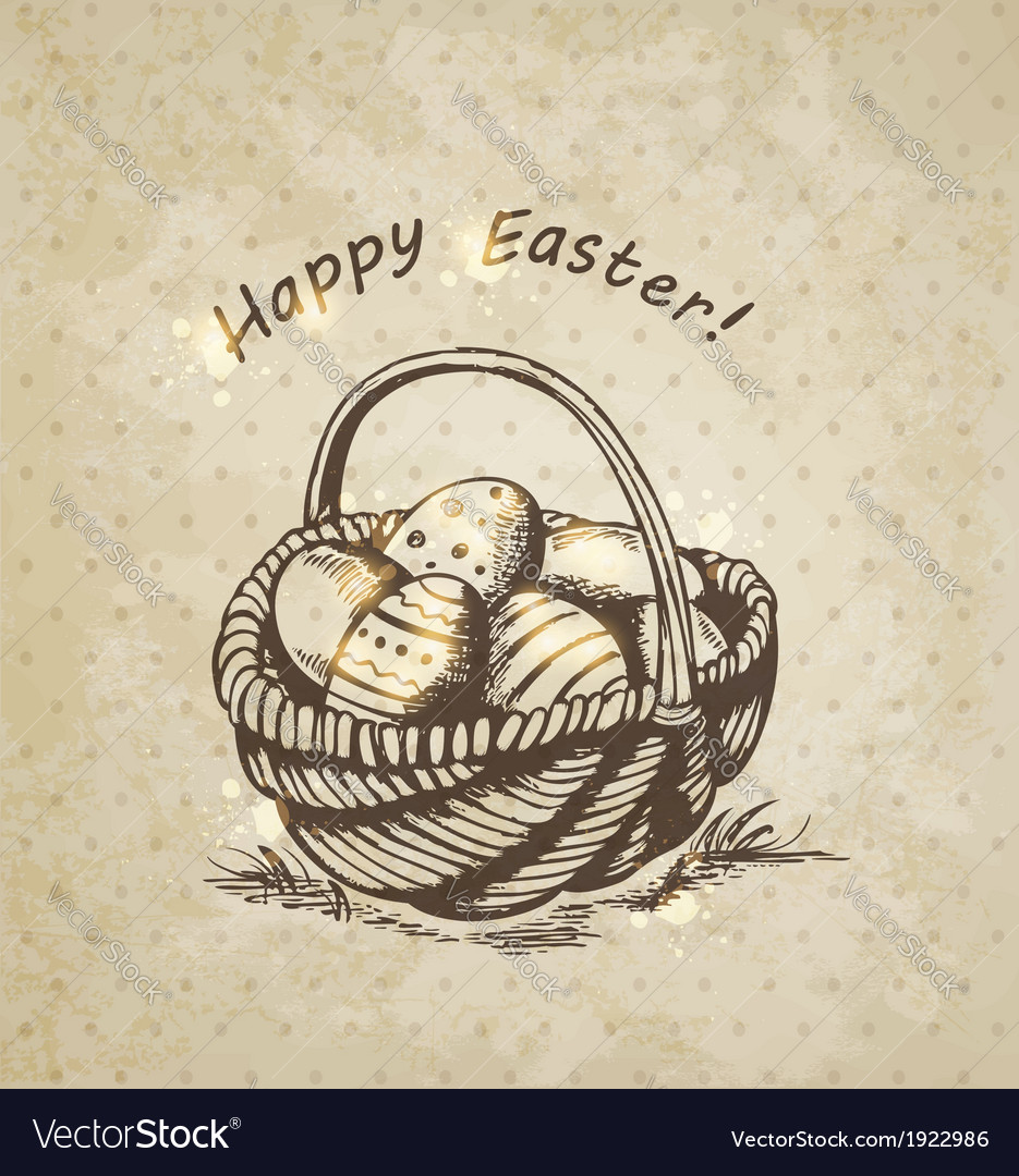 Vintage background with easter basket vector | Price: 1 Credit (USD $1)