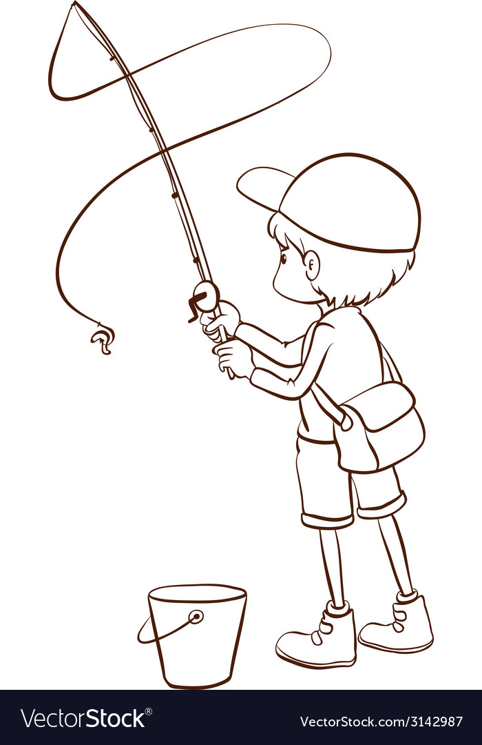 A plain sketch of a boy fishing vector | Price: 1 Credit (USD $1)