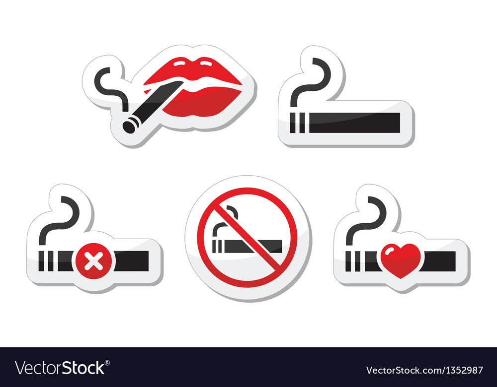 Cigarette lips labels set vector