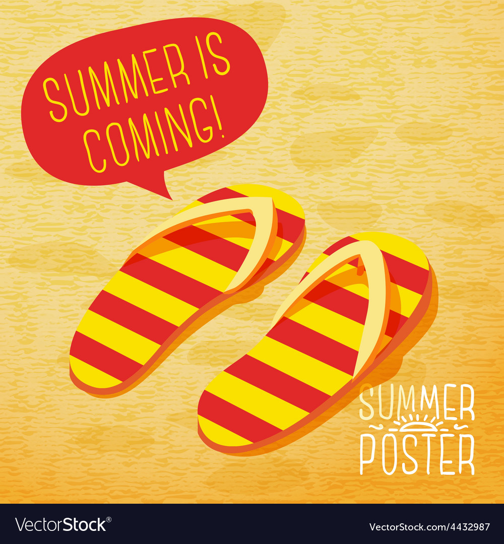 Cute summer poster  slippers on the beach with vector